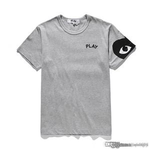 COM Großhandel Neue beste Qualität Grau CDG DER HOLIDAY PLAY GARCONS T-Shirt Schwarz Rot gestreifte Polka Prompt