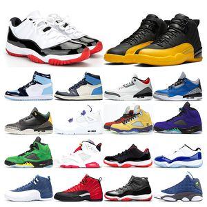 2020 мужских ботинки баскетбола 12s университета Золотого UNC обсидиан 4с СУД PURPLE 5S Alternate виноград 11s Белый Бред Concord СПОРТИВНОЙ тренера тапки
