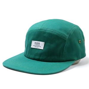 Tasarımcı Şapka Caps Erkekler Yüksek Kaliteli Özel Plastik toka Toka Nefes 5 Paneli Dokuma Patch Yapılandırılmamış Düz Bill Snapback Şapka Cap