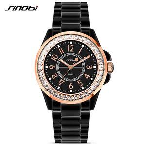 SINOBI Fashion Women Diamonds Wrist Watches Imitation Ceramics Watchband Top Dress Ladies Geneva Quartz Clock 2020