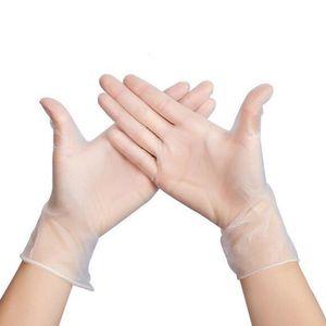 100pcs / bag Tek Şeffaf Eldiven Toz Ücretsiz Dövme Ev Saç Temizleme Temizle İşçi Koruma PVC eldivenler DHL ücretsiz