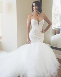 2020 luxe sirène robes de mariée chérie Puffy bal en tulle Appliques robe de mariée grande taille Robes de mariée Custom Design