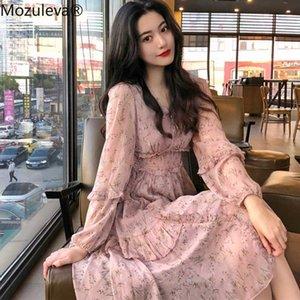 Mozuleva elegante V-Ausschnitt-Blumen-Druck-Frauen-Chiffon- Kleid-elastische Taillen-unregelmäßige Rand-Frauen-Kleid Rüschen Vestidos Femme 2020