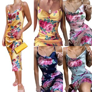 Womens Retro Summer Floral Dress 2020 Fashion V-neck High Street Sling Sleeveless Long Dress Printing Swing Collar Lady Sexy Party Dresses