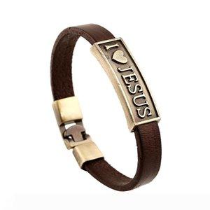 I Love Jesus Bracelet Antique Love Jesus Tag Leather Bracelet Wristband Rings Woman Man Fashion Jewelry