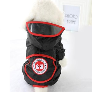 2018 New Hooded Pet Dog Raincoats Letter Print outdoor Raincoat For Small Medium Puppy Waterproof Dog Clothes Appreal 6 colors T200328