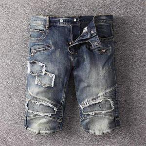 New Summer Mens Holes Denim Shorts Zipper Fashion large pocket Men Denim Jeans Slim Straight Pants Trend mens designer shorts