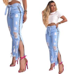 Fashion Trend Womens Jeans furo de fenda Jeans Calças Listagem do Novo Mulheres vaqueiro Side Zipper Design Roupa Casual Calças sexy boate
