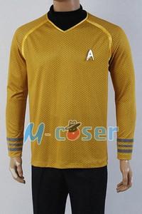 Wholesale Star Trek Into Darkness Captain Kirk Shirt Uniform Cosplay Costume Yellow Version Size XS XXXXL T0en#