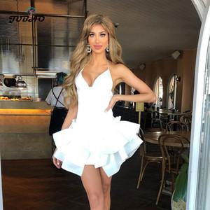 Sexy White Deep V-Neck Open Back backless Ballet Style dress short birthday club wear dinner dresses for women 2020 new T200710