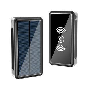 Быстрое Ци Беспроводное зарядное устройство Solar Power Bank 50000mAh для iPhone Xiaomi POWERBANK портативный Тип C Poverbank с фонариком
