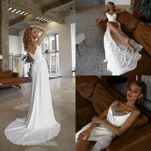 2020 New Spaghetti Wedding Dresses with High Split Sweep Train Beach Wedding Gowns Customise robe de mariée Cheap