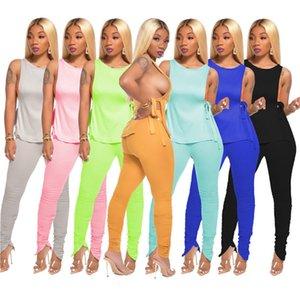 11 Couleurs Tie-dye Survêtement solide pour les femmes dames lacent Camisole veste et pantalon réservoir de Split Skinny 2 pièces Vêtements Set Party Wear D71402