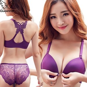 Queenral Front Closed Push Up Brassiere Panties Sexy Underwire Bra Set For Women Underwear Solid Color Female Lingerie Briefs Y200708