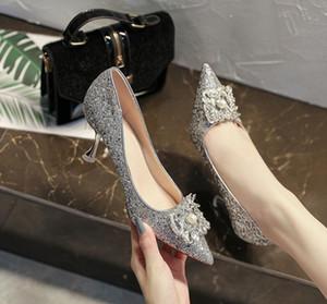 2020 neue Art und Weise Frauen Spitzschuh Pailletten Perlen Schuhe Pumps Frau Abendkleid-Absatz-Hochzeitsschuhe Schuhe Mujer gg05