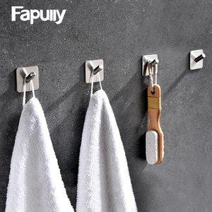 Fapully 304 Edelstahl Kreative Robe-Haken Wand 4pcs Kleiderhaken Tuch-Aufhänger Badezimmer Schlags Gratis Bad-Accessoires T200717