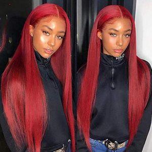 Dentelle rouge Front Humain Cheveux Perruques Rouge Human Hair Wig Dentelle Perruque frontale Précédent Perruques de cheveux humains en dentelle pleine dentelle colorée