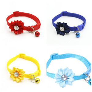 Nouveau motif de fleur de type collier de chien marqueté eau diamant Collier clochette chat Colliers Pet Supplies Ornement 1 35zr D