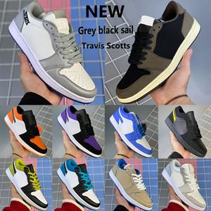Grey vela preta sapatos 1 1s basquete Jumpman Low OG SP Travis Scotts galáxia toe preto UNC N7 algodão doce homens as sapatilhas das mulheres