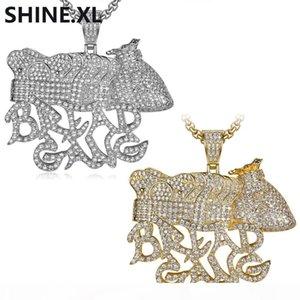 Banhado Hip Hop Iced Out All Lab Prata diamante PÃO GANG Bolsa coroa pingente de colar de jóias homens presente Bling