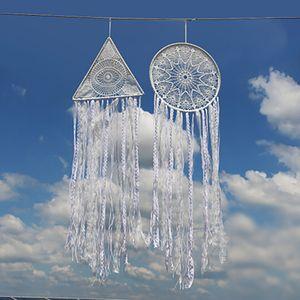 White tassel dream catcher Amazon hot selling white dream catcher shop dream net wind chimes home decor