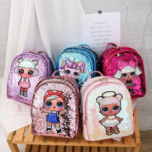 2020 sequins double-backed primary school student travel travel bag beauty doll backpack Sequins backpack doll fashion cartoon bag