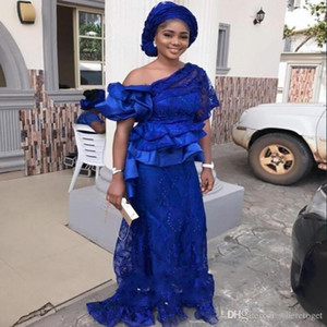 2020 Royal Blue Prom Dresses 2K19 Peplum Ruched Tiered Sequins Lace Sheath Evening Dress African Women Wear Plus Size Party Gowns Cheap