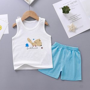 Children's clothing 2020 new children's vest pants suitPants set cotton vest shorts suit two-piece Baby's pajamas suit