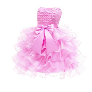 HT70315 Princess Organza Ruched Flower Girl Dresses Sleeveless With Pearl And Bow 2020 Vestidos De Primera Comunion