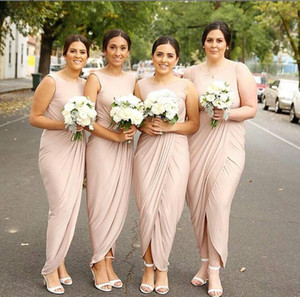 2020 pink ruched chiffon Bridesmaid Dresses long Simple African Country Wedding Guest Gowns Maid Of Honor Dress Plus Size