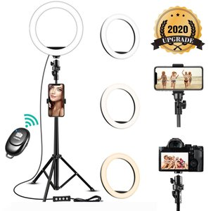 Remote LED Selfie Ring Light 8 inch Dimmable Camera Phone Ring Lamp With Tripod Stand Phone Holder For Makeup Video Live Studio