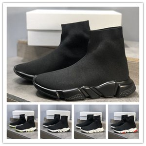 2020 new Speed Trainer Stretch Knit Mid Black White Pariss Sock Shoes Chaussures Fashion Top Breathable Casual Men Women Shoes Free shipping