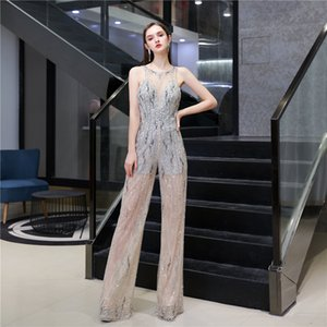 Sexy See Through Style Lace Tulle Beads Sequins Jumpsuits for Evening Party robe de soiree Custom Made