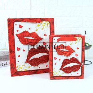 100pcs lot Creative design 3 Size 4 Styles Valentine's Day heart shaped gift handbag rose paper bag flower gift bag