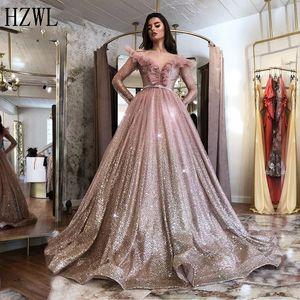 2020 Rose Gold Evening Dresses Long Sleeves A-line Off Shoulder Islamic Dubai Party Gown Saudi Arabic Elegant Prom Gown vestido