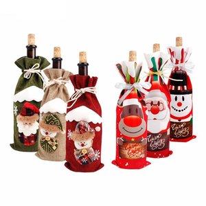 Xmas Christmas Houspace Santa Silverware Holders Christmas Bottle Decorations DecorWine Bottle Cover Snowman Stocking Gift Z0277