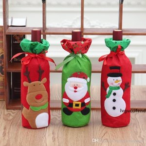 13*32cm Red Wine Bottle Cover Bags Decoration Home Party Santa Claus Christmas Packaging Christmas Merry Christmas Decoration BH2445 CY