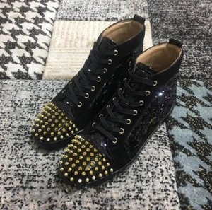 sslouboutinCLWith box 2019 New Luxury Black Gold Glitter Sequins Red Bottom Shoes Designer High Top Spikes Toe Genuine Leat