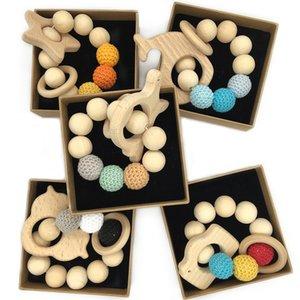 Fai da te bambino Molari Toy Building Blocks Animal Bracciale logaritmo naturale non tossico Perle Crochet lana borda il braccialetto Massaggiagengive bambino in legno