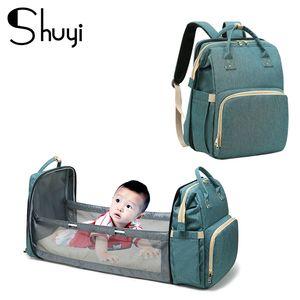 Large Capacity Mummy bag Baby diaper bag bed backpack Multifunctional Foldable Baby Storage Waterproof Traveling backpacks