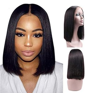 10INCH 13x4 Lace Front Short Bob Wigs Brazilian Straight Human Hair Wigs For Women Density Pre Plucked with Baby Hair Natural Black