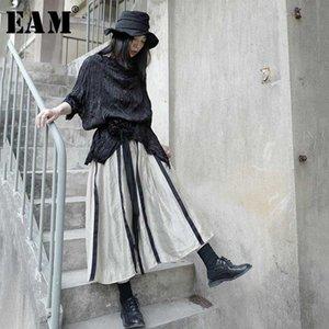 [EAM] High Waist Khaki Striped Linen Split Joint Elegant Long Half-body Skirt Women Fashion Tide New Spring Summer 2020 1X659