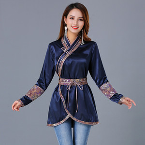 Tang costume Top costume de luxe femmes Mongolian oriental vêtements élégant style national soie vêtements ethniques traditionnels