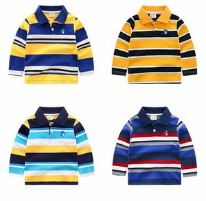 Boys Designer Long Sleeved Tshirts Fashion 2020 New Arrival Striped Polo Shirts Kids Designer Clothes Boys Pullever Classic Tops