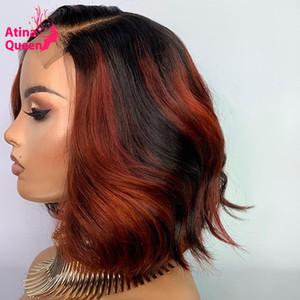 Del frente del cordón de color rojo Borgoña peluca Bob Short Preplucked Remy Pixie Cut Resaltar Cierre de pelo Rubio miel humano pelucas para las mujeres