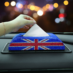 Sparkling Car diamond set tissue box European napkin car drawer leather car oranaments home tissue box lady gift