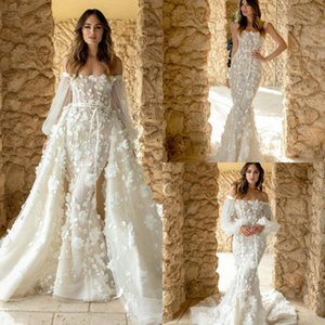 Elegant 3D Flower Appliqued Wedding Dresses with Detachable Train Long Sleeve Bridal Wedding Gowns Customise robe de mariée