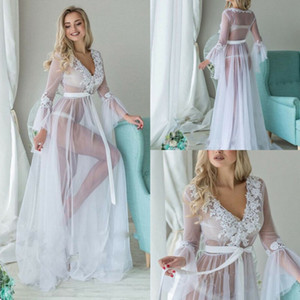 Bathrobe Sleepwear Woman Illusion Tulle Jumpsuits Robe Long Party Wedding Dresses Plus Size Custom Made Bride Gowns