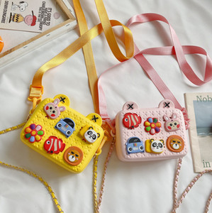 Children cartoon handbag 2020 New Kids silicone DIY single shoulder bag girls chain ribbon double straps Educational toys bag A3478