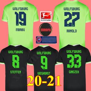 20 21 VfL Wolfsburg maillot de foot 2020 2021 Accueil GINCZEK Guilavogui football chemises Loin MEHMEDI Kalus MALLI STEFFEN Weghorst uniforme de football